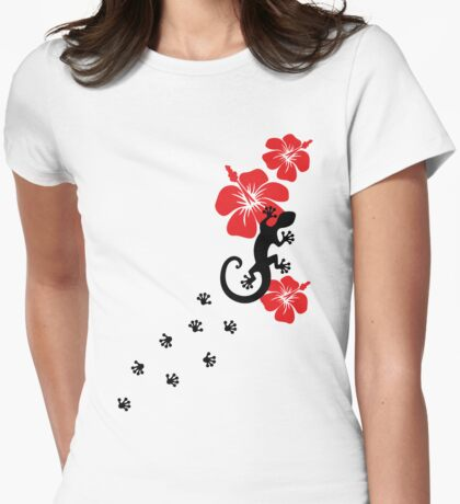 Gecko, lizard, Hawaii, aloha, surf, beach, summer, party, water sports Womens Fitted T-Shirt