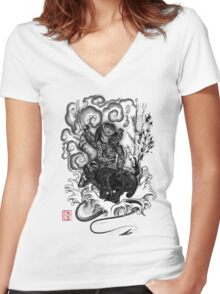 The Hunter and the Demon Women's Fitted V-Neck T-Shirt