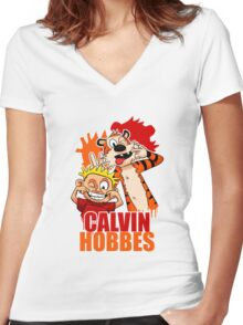 Calvin and Hobbes Time Women's Fitted V-Neck T-Shirt