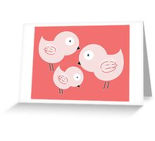 Three pink birds Greeting Card