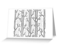 Seamless pattern with trees, grayscale Greeting Card