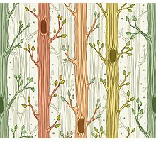 Seamless pattern with trees, light Photographic Print