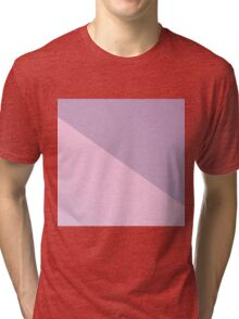 Pretty Pastel Pink and Purple Diagonal Color Block Tri-blend T-Shirt