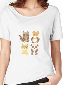 Raccoon, panda, fox, cat on dot background Women's Relaxed Fit T-Shirt