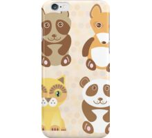 Raccoon, panda, fox, cat on dot background iPhone Case/Skin