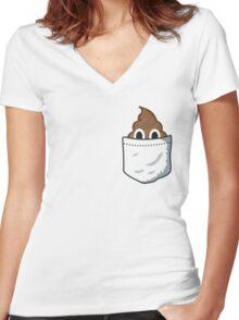 Pocket Poop Emoji Women's Fitted V-Neck T-Shirt