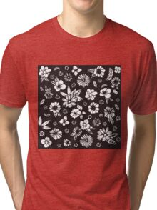 Black and White Hand Drawn Flowers and Foliage Tri-blend T-Shirt