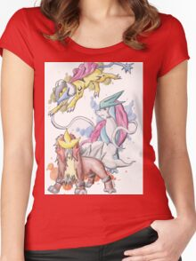 Pokemon - Johto Legendary dogs Entei, Suicune and Raikou Women's Fitted Scoop T-Shirt