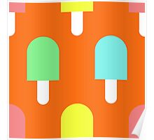 Fruity Iced Lollies on Orange Poster