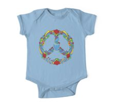 Peace symbol with flowers and stars pop-art style One Piece - Short Sleeve