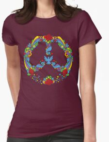 Peace symbol with flowers and stars pop-art style T-Shirt