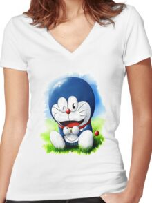 Doraemon Shirt Women's Fitted V-Neck T-Shirt