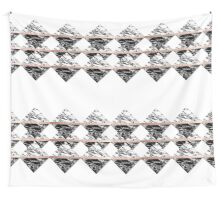 Modern Chic Black White Marble and Rose Gold Strip Wall Tapestry