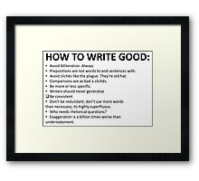 How To Write Good Framed Print