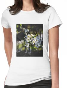 Hawthorn blossom grunge. Womens Fitted T-Shirt