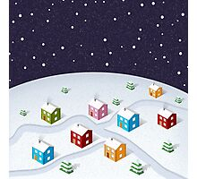 Isometric City Christmas Photographic Print