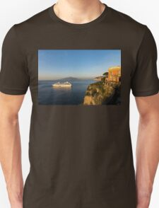 Sunset Postcard from Sorrento - the Sea, the Cliffs and Vesuvius Volcano Behind the Criuse Ship T-Shirt