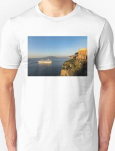 Sunset Postcard from Sorrento - the Sea, the Cliffs and Vesuvius Volcano Behind the Criuse Ship Unisex T-Shirt