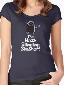 The Hash Slinging Slasher! (White Text) - Spongebob Women's Fitted Scoop T-Shirt