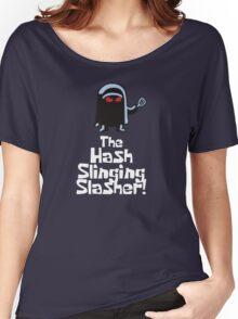 The Hash Slinging Slasher! (White Text) - Spongebob Women's Relaxed Fit T-Shirt