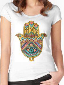 Rainbow Hamsa Hand Women's Fitted Scoop T-Shirt