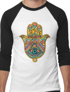 Rainbow Hamsa Hand Men's Baseball ¾ T-Shirt