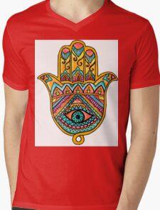 Rainbow Hamsa Hand Mens V-Neck T-Shirt