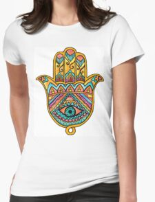 Rainbow Hamsa Hand Womens Fitted T-Shirt