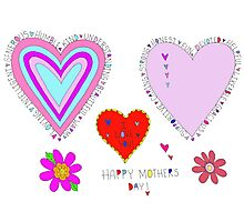Happy Mother's Day Hearts Flowers Lettering Photographic Print