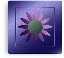 Faux Metal Purple Abstract Flower Canvas Print