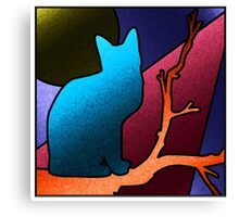 Faux Stained Glass Cat Canvas Print