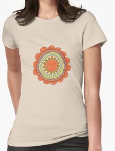 big red flowery shape Womens Fitted T-Shirt