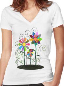 Whimsical Flowers Women's Fitted V-Neck T-Shirt