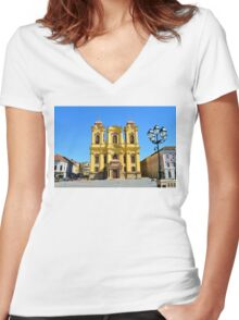 timisoara union square dome Women's Fitted V-Neck T-Shirt
