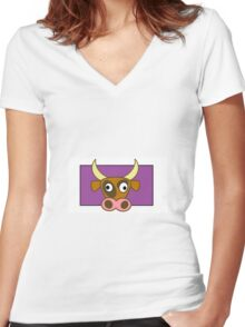 Cartoon cow Women's Fitted V-Neck T-Shirt