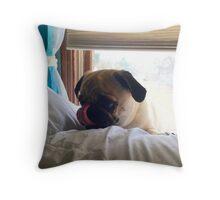 lazy pug Throw Pillow