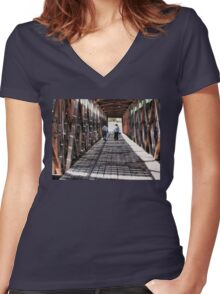 """Remembering, 'Back-in-the-Day""'... prints and products  Women's Fitted V-Neck T-Shirt"