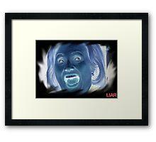Hilary Clinton negative crazy face Framed Print