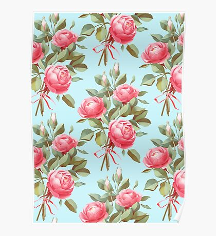 bouquet of three roses Poster