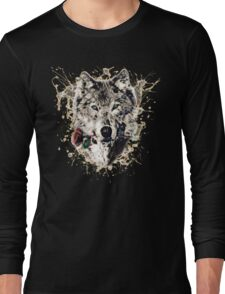 Wolf with Rose, Love Symbol, Wolves, Nature, Native, Splash,  Long Sleeve T-Shirt