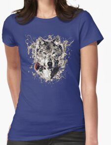 Wolf with Rose, Love Symbol, Wolves, Nature, Native, Splash,  Womens Fitted T-Shirt
