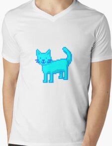 pixel cat Mens V-Neck T-Shirt