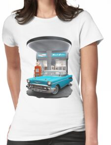 1957 Chevrolet Bel Air Night  Womens Fitted T-Shirt