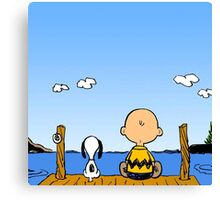 Snoopy And Charlie Brown Graphic T-Shirts Canvas Print