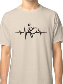 MUSIC HEART PULSE, Love, Music, Bass Clef, Treble Clef, Classic, Dance, Electro Classic T-Shirt
