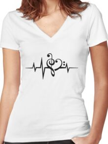 MUSIC HEART PULSE, Love, Music, Bass Clef, Treble Clef, Classic, Dance, Electro Women's Fitted V-Neck T-Shirt