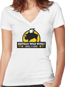 buffalo wild wings Women's Fitted V-Neck T-Shirt