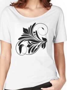 Black And White Floral Design Women's Relaxed Fit T-Shirt