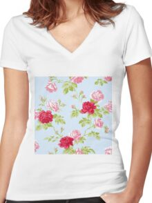 Colorful Flower Floral Design Pattern Women's Fitted V-Neck T-Shirt