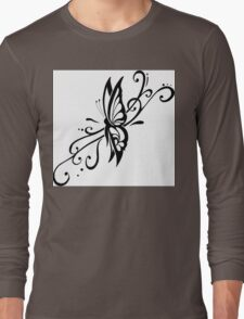 Black And White Floral Flower Design Long Sleeve T-Shirt